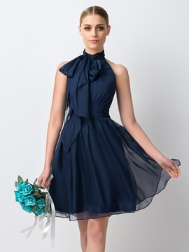 Charming Pleated Halter A-Line Short Bridesmaid Dress & simple Bridesmaid Dresses
