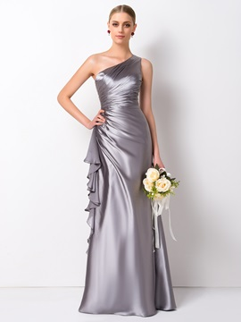 Gorgeous Pleated Ruffles A-Line Long One Shoulder Bridesmaid Dress & unique Bridesmaid Dresses
