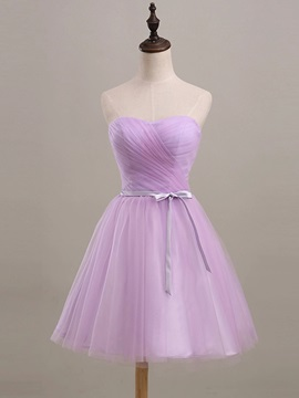 Knee Length A-Line Strapless Ruched Sweetheart Purple Short Bridesmaid Dress & Bridesmaid Dresses for less