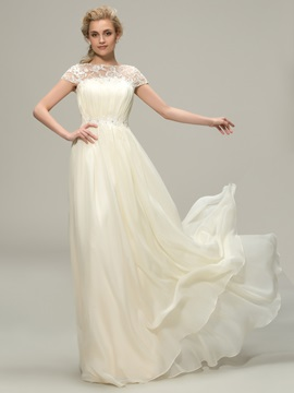 Floor Length A-Line Lace Bateau Neck Short Sleeve Bridesmaid Dress & Bridesmaid Dresses 2012