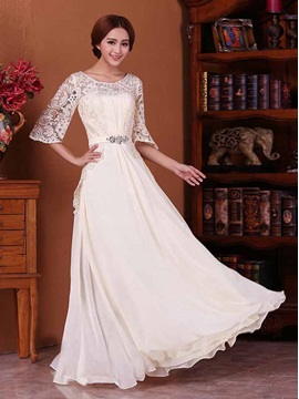 Lace Half Sleeve Chiffon Floor-Length Bridesmaid Dress & modern Bridesmaid Dresses