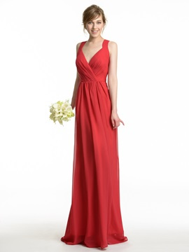 Sexy V-Neck Spaghetti Straps Chiffon Long Bridesmaid Dress & romantic Bridesmaid Dresses