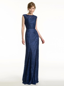 Jewel Neck Open Back Sheath Long Lace Bridesmaid Dress & unusual Bridesmaid Dresses