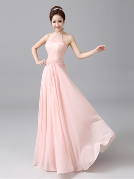 Halter Pink Chiffon Long Bridesmaid Dress Cheap & fashion Bridesmaid Dresses