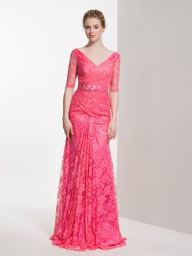 Elegant V Neck Beading Sheath Lace Bridesmaid Dress & elegant Bridesmaid Dresses