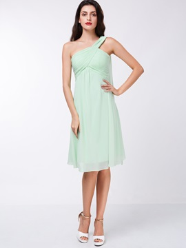 Simple One Shoulder Ruched Knee-Length Homecoming Dress & modern Bridesmaid Dresses