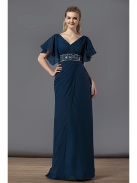 Charming V-Neck Ruffles A-Line Floor-Length Short Sleeves Bridesmaid Dress & Bridesmaid Dresses from china