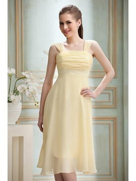 Cheap Ruched A-Line Knee-length Square Neckline Nadya's Bridesmaid/Homecoming Dress & unique Bridesmaid Dresses