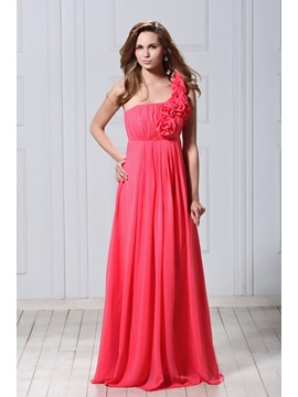 Chic A-Line One-Shoulder Flowers Floor-Length Veronika's Bridesmaid Dress & Bridesmaid Dresses under 100