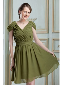 Modern Ruched A-Line V-Neck Knee-length Nadya's Bridesmaid Dress & romantic Bridesmaid Dresses