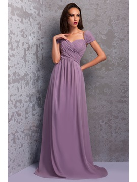 Graceful Pleats A-Line Floor-Length Cap Sleeves Renata's Bridesmaid Dress & formal Bridesmaid Dresses