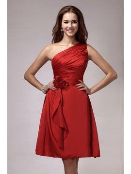 Attractive One-Shoulder Pleats Flower A-Line Knee-length Sandra's Bridesmaid Dress & informal Bridesmaid Dresses