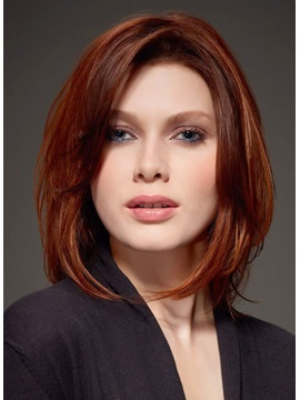 Human Hair Invert Long Bob Side Fringe Lace Front Women Wigs 10 Inches