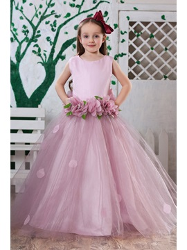 Attractive Ball Gown Floor-length Round-neck Flowers Embellishing Flower Girl Dress & vintage style Flower Girl Dresses