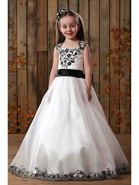 Cute A-Line Square Floor-Length Applique Satin Flower Girls Dress & simple Flower Girl Dresses