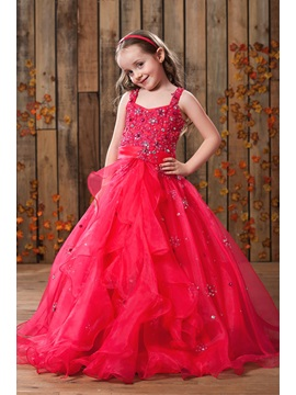 Elegant A-Line Straps Floor-length Sequins Flower Girl Dress & casual Flower Girl Dresses