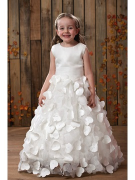 Glorious A-line Scoop Sleeveless Floor-length Appliques Flower Girl Dress & unusual Flower Girl Dresses
