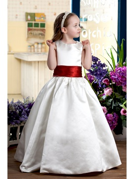 A-line Round-neck Tea-Length Flower Girl Dress 2013 style & attractive Flower Girl Dresses
