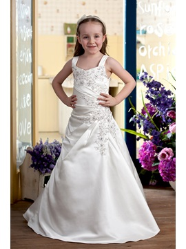 Attractive A-line Floor-length Beading Straps Flower Girl Dress & simple Flower Girl Dresses
