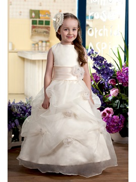 Ball Gown Bateau Tiered Ankle-length Flowers Embellishing Flower Girl Dress & modern Flower Girl Dresses