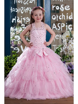 Ball Gown Halter Floor-length Tiered Flower Girl Dress & Flower Girl Dresses under 100