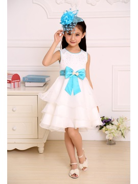 Cute Sashes Strapsless Knee-length Bowknot Flower Girl Dress & colored Flower Girl Dresses