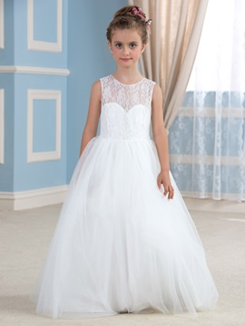 Elegant Lace Top Open Back Ivory Princess Ball Gown Flower Girl Dress & Flower Girl Dresses for less