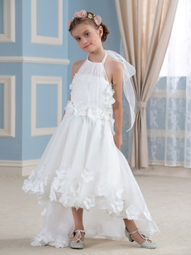 Asymmetry Halter Flower Embellishing Ivory Organza Flower Girl Dress & Flower Girl Dresses under 300