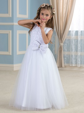 Elegant Floral Bodice Tulle Overlay White Flower Girl Dress & quality Flower Girl Dresses