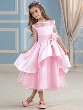 Adorable Tea Length A-Line Beaded Tiered Satin Pink Flower Girl Dress & Flower Girl Dresses on sale