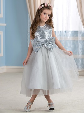 Cute Sequin Bowknot Silver Flower Girl Dress & Flower Girl Dresses for less