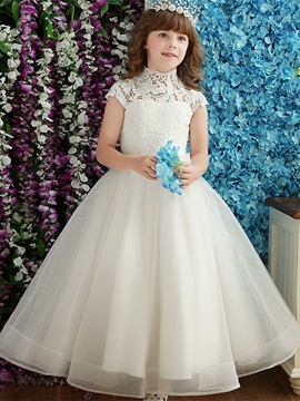 Beautiful High Neck Bowknot Ball Gown Flower Girl Dress & Flower Girl Dresses from china