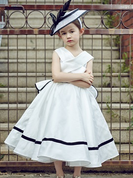 Stylish V Neck Tea-Length Ball Gown Flower Girl Dress & discount Flower Girl Dresses