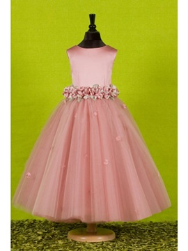 Attractive A-Line Ankle-length Round-neck Flowers Embellishing Flower Girl Dress & Flower Girl Dresses for sale