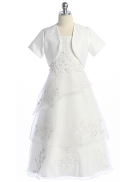 New Style 2-Piece A-line Appliques Tiered Flower Girl Dress & casual Flower Girl Dresses