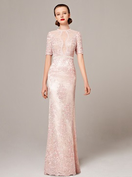 Classy Jewel Neck Short Sleeves Sheath Lace Evening Dress
