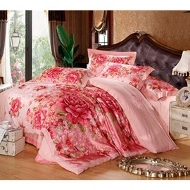 Warm Color Pirnt Pure Color 4-Piece Bedding Sets