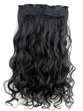 Natural Black One Piece Clip In Hair Extension Synthetic Material 24 Inches