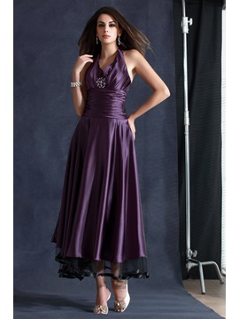 New Style A-Line Tea-Length Halter Neckline Beading Taline's Evening Dress & simple Formal Dresses
