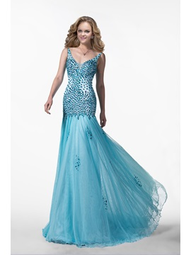 Glittering Mermaid V-Neck Beading Court Train Tulle Zipper-up Floor-length Evening Dress & fashion Formal Dresses
