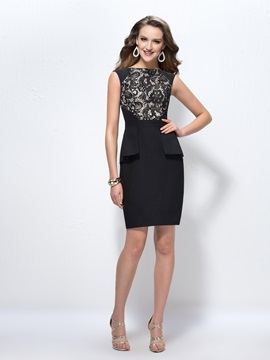 Sheath/Column Lace Bateau Neckline Short Zipper-up Formal Dress & Formal Dresses for less