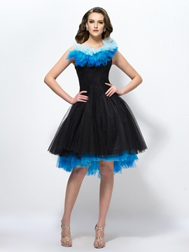 Enchanting A-Line Pleats Knee-Length Tiered Straps Party Dress & affordable Formal Dresses