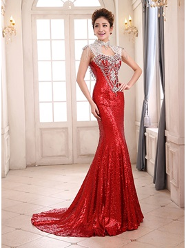 Luxurious High Neck Sequins Crystal Backless Evening Dress & Formal Dresses on sale
