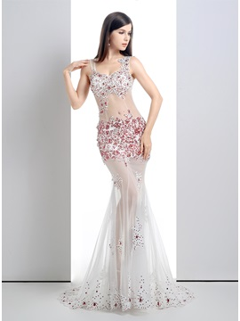 Straps Appliques Beading Sequins Tulle Back Long Pageant Dress & modern Formal Dresses