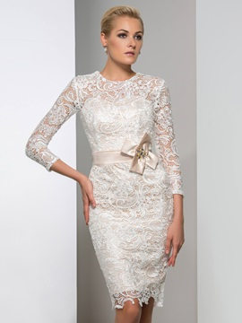Hot Sale 3/4-Length Sleeves Column Knee-Length Lace Cocktail Dress & colored Formal Dresses