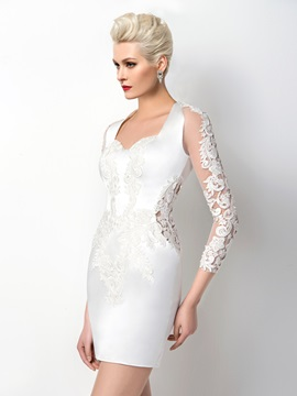 Sheath Appliques 3/4-Length Sleeves Zipper-up Short Cocktail Dress Designed & Formal Dresses online