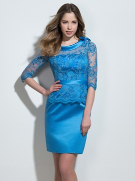 Scoop Neck Half Sleeves Column Lace Formal Dress & affordable Formal Dresses