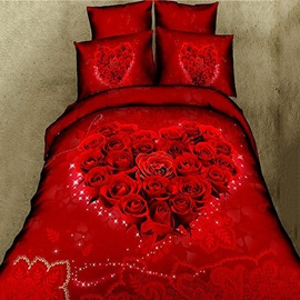 Romantic Heart Shaped Red Rose Printed Cotton 4-Piece 3D Bedding Set