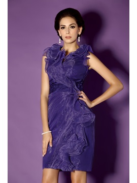Graceful Cascading Ruffles Column Knee-Length Taline's Mother of the Bride Dress & modest Mother of the Bride Dresses