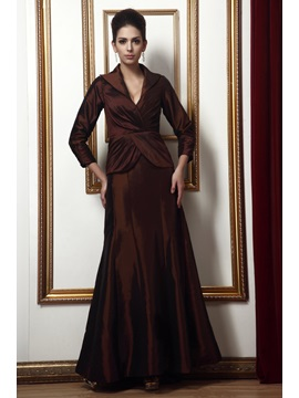 Enchanting A-Line V-Neck 3/4 Sleaves Long Taline's Mother of the Bride Dress & inexpensive Mother of the Bride Dresses
